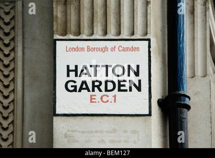 Hatton Garden street sign London - Stock Photo
