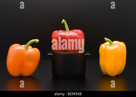 Fresh bell peppers, one squeezed into miniature pot - Stock Photo