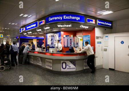 Bureau de Change office operated by Travelex at Gatwick airport South Terminal. London. UK. - Stock Photo