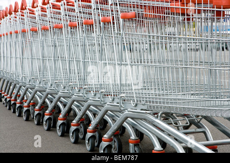 Row of shopping carts - Stock Photo