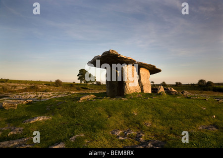 The 6,000 year old Poulnabrone Dolmen (or Portal Tomb), The Burren, County Clare, Ireland - Stock Photo