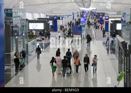A high angle view of interiors of Hong Kong International Airport. Hong Kong, People's Republic of China - Stock Photo