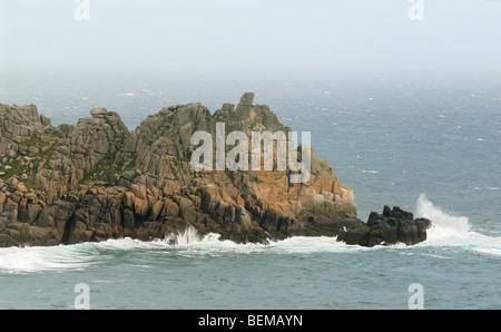 Cliffs at Porthcurno, Cornwall, UK. - Stock Photo