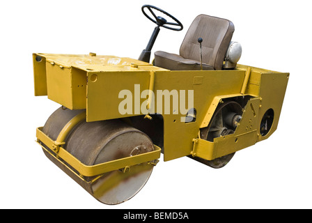 Mini road roller isolated on the white background - Stock Photo