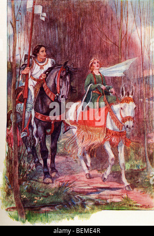 Sir Lancelot and Queen Guinevere. Coloured illustration from the book The Gateway to Tennyson published 1910. - Stock Photo