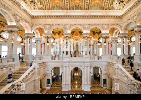 The Great Hall in the Thomas Jefferson Building, Library of Congress, Washington DC, USA - Stock Photo