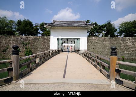 Bridge over the inner moat and main entrance to Honmaru Palace. Nijo-jo (Nijo Castle). Kyoto. Kansai. Japan - Stock Photo