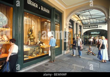 Stores Via Nassa Street, Arcade, Lugano, Ticino, Switzerland - Stock Photo