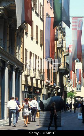 Shopping Street Via Nassa, Lugano, Ticino, Switzerland - Stock Photo