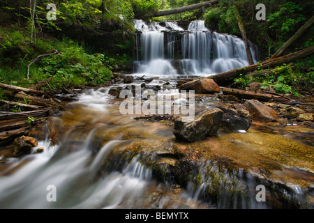 Wagner Waterfall in forest with stream Michigan MI USA nobody no not people isolated close up closeup detail front - Stock Photo