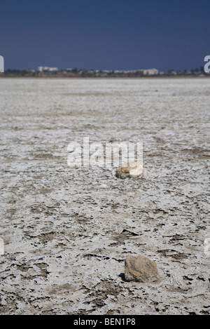 larnaca salt flats in the larnaka salt lake republic of cyprus europe - Stock Photo