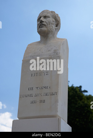 Zenon of Kition bust of the cypriot scholar in Larnaca Republic of Cyprus europe - Stock Photo