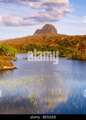 Scotland, Sutherland, Suilven from Loch Druim Suardalain - Stock Photo