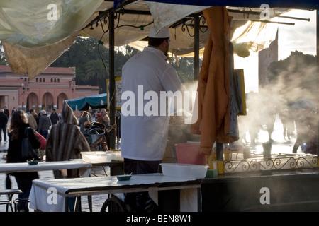 Food stall in Jemaa el Fna square. Marrakesh, - Stock Photo