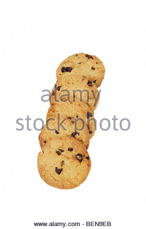 Chocolate chip cookies isolated on white. - Stock Photo
