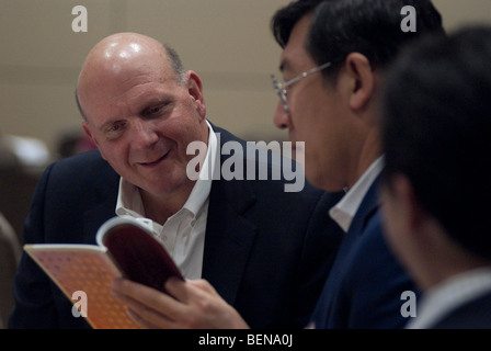 Wei Deng of the Chinese company  'Bright Oceans' wtih Steve Ballmer, Microsoft Chief Executive Officer (CEO) - Stock Photo