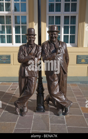 Statue of Stan Laurel and Oliver Hardy in Ulverston, Cumbria, birthplace of Stan Laurel and home of the Laurel & - Stock Photo