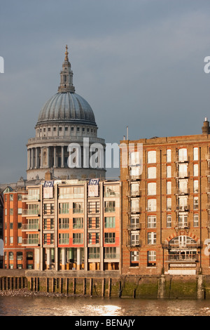 St Paul's Cathedral and riverside buildings in London, during winter of February 2009 - Stock Photo