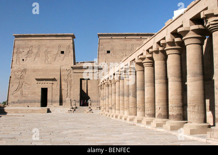Philae Temple of Isis on Agilkia Island in Lake Nasser, Aswan, Egypt, North Africa - Stock Photo