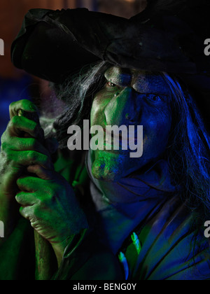 Portrait of a scary old witch - Stock Photo