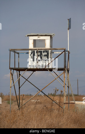 UN observation post 133 in the SBA buffer zone in the green line dividing north and south cyprus - Stock Photo