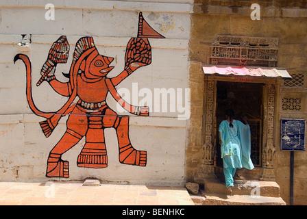 A painting of Hanuman on the wall Jaisalmer Rajasthan India - Stock Photo