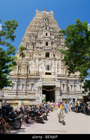 The Virupaksha Temple also called Pampapathi temple is located at the foot of Hemakuta Hill and was rebuilt in 1510 - Stock Photo