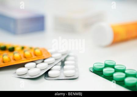 Blister packs of various pills - Stock Photo