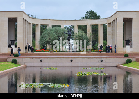 Second World War Two Normandy American Cemetery and Memorial, Omaha Beach, Colleville-sur-Mer, Normandy, France - Stock Photo