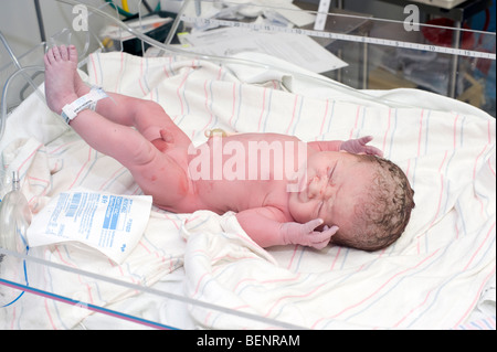 Newborn baby immediately after delivery in a home bath ...