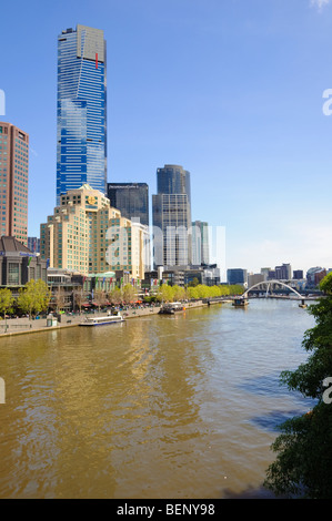 South Bank and Yarra River, Melbourne, Australia, including Eureka Tower. - Stock Photo