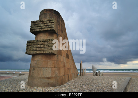 Second World War Two monument at Omaha Beach, scene of the WW2 D-Day invasion at Saint-Laurent-sur-Mer, Normandy, - Stock Photo