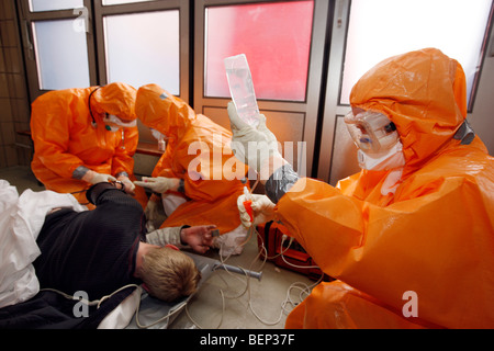Exercise of a fire brigade, mass vaccination of people against a virus, pandemic exercise, Essen, Germany. - Stock Photo