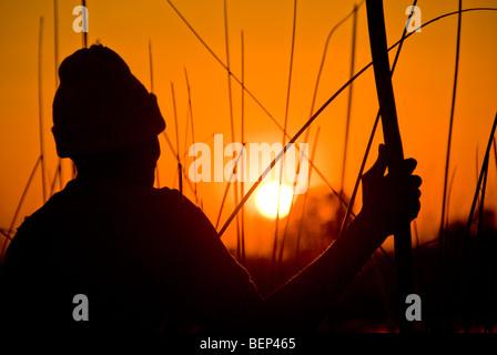 A mokoro poler watching sunset on a mokoro boat in the Okavango delta, Botswana, Africa. - Stock Photo