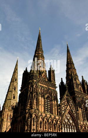 Lichfield Cathedral, Staffordshire, England, UK - Stock Photo