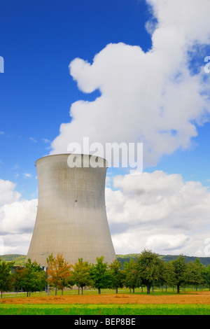 The cooling tower at a nuclear power plant. - Stock Photo