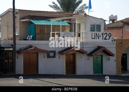 UN post 129 un-129 in the village of pyla buffer zone in the green line dividing north and south cyprus - Stock Photo