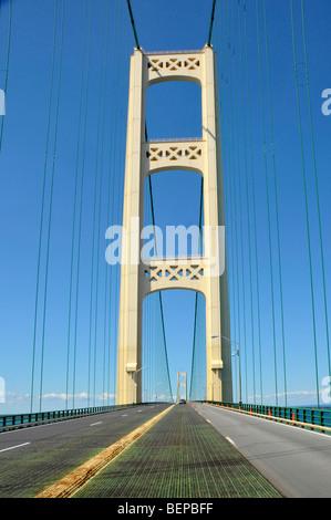 Mackinac Bridge between Upper and Lower Peninsula Michigan - Stock Photo