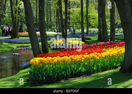 Tourists walking among colourful tulips, hyacinths and daffodils in flower garden of Keukenhof, Lisse, Holland, - Stock Photo