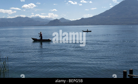 GUATEMALA Lake Atitlan, from San Marcus La Laguna. Fishermen in canoes. PHOTO BY SEAN SPRAGUE 2009 - Stock Photo