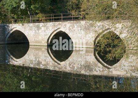UK, bridge over the Avon river at Bradford on Avon, Wiltshire, England - Stock Photo