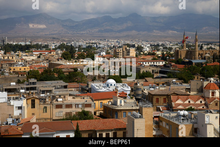 aerial view from southern nicosia over northern turkish controlled nicosia in nicosia lefkosia republic of cyprus - Stock Photo
