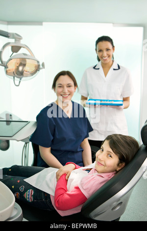 Portrait of a dentist, nurse and patient - Stock Photo