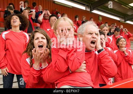 Despairing Fans at football match - Stock Photo