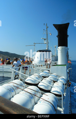 Inflatable liferafts in hard-shelled canisters on a ferry, Croatia - Stock Photo