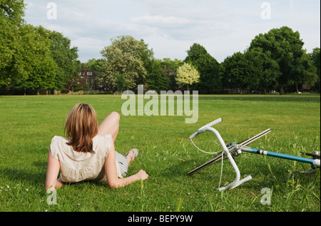 Woman resting in park - Stock Photo