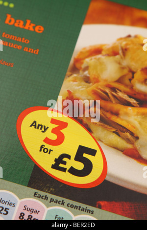 Supermarket Any 3 for £5 price discount special offer on pasta bake processed food ready meal - Stock Photo