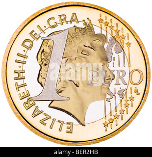 Composite One Euro / British coin (Queen's head from half sovereign) - Stock Photo