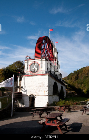 Great Laxey Wheel, also known as Lady Isabella, largest waterwheel in the world, in the village of Laxey, Isle of - Stock Photo