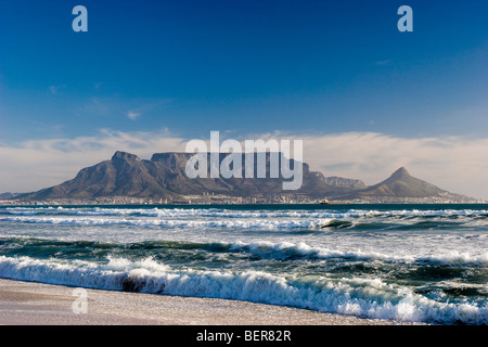 Table Mountain as seen from Bloubergstrand's beach, South Africa - Stock Photo